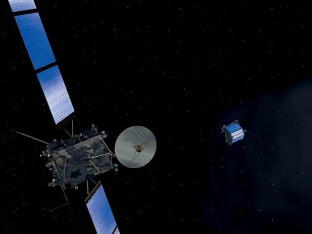 Počítačová grafika publikovaná Evropskou kosmickou agenturou (ESA) znázorňuje přiblížení sondy Rosetta ke kometě 67P/Čurjumov-Gerasimenko. Ilustrační foto.