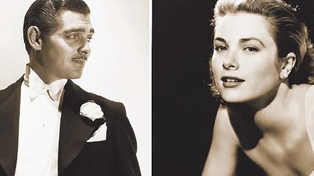 HVĚZDY HOLLYWOODU. Clark Gable ve svých nejlepších časech, kdy lámal srdce fanynek a muži měnili módu podle jeho kostýmů. Grace Kellyová byla jednou z nejpůvabnějších hereček Hollywoodu a nejelegantnějších žen vysokých kruhů.