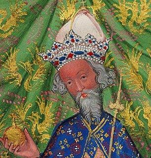 Karel IV. na obraze Václav IV., Karel IV. a Jošt Moravský, detail