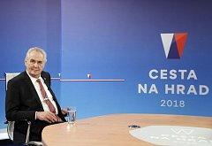 Prezident Miloš Zeman v debatě na televizi Nova.