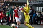 Fotbalový zápas Evropské ligy Slavia - Villarreal v Edenu.