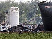 Trosky továrny na hnojiva v texaském Westu