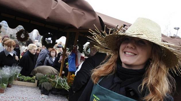 Farmářské trhy na dejvickém Vítězném náměstí.