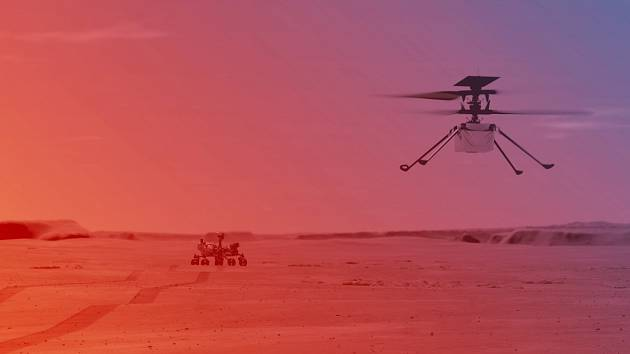 Simulace helikoptéry Ingenuity na Marsu.