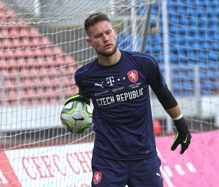 Trénink fotbalové reprezentace na Strahově 28.května. Brankař Tomáš Vaclík.