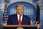 Americký prezident Donald Trump na tiskové konferenci v Bílém domě