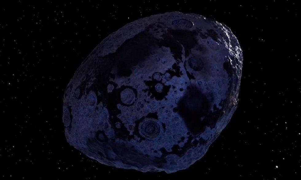 Umělecká představa železného meteoritu putujícího vesmírem