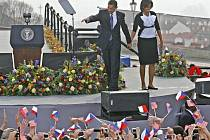 Americký prezident Barack H. Obama pronesl 5. dubna na Hradčanském náměstí svůj projev.