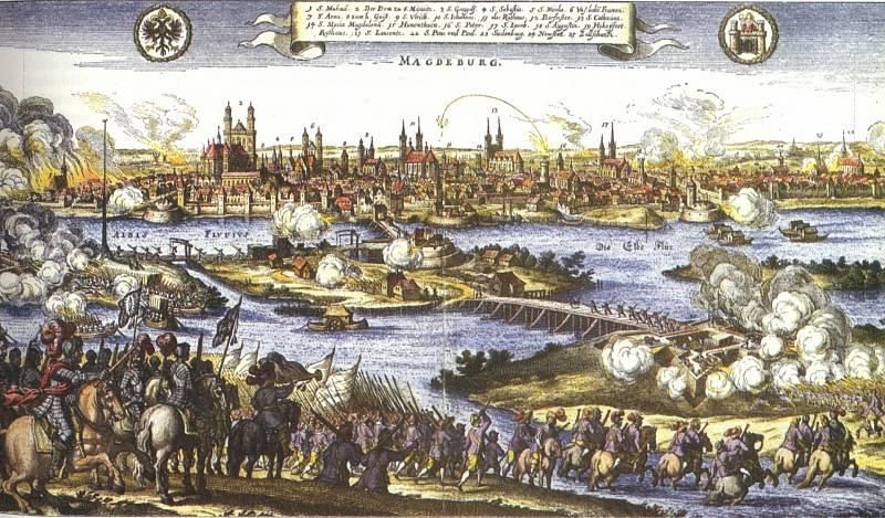 Dobytí Magdeburgu v roce 1631. Z třiceti tisíc obyvatel jich přežilo pouhých pět tisíc