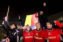 Fotbalisté Belgie a jejich oslavy postupu na Euro