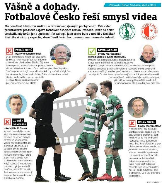 Experti Deníku hodnotili kontroverzní moment zutkání 23.kola FORTUNA:LIGY mezi Bohemians a Slavií.