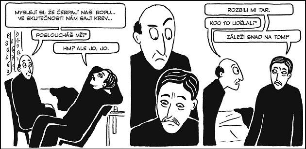 RAFINOVANÁ VYPRAVĚČKA. Jednoduchou černobílou kresbou dokáže Marjane Satrapiová přesně postihnout i složité city a pocity.
