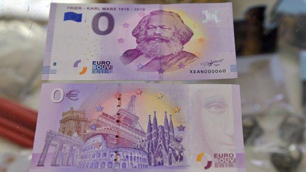 Trevír vydal jako suvenýr k výročí narození Karla Marxe falešnou bankovku v hodnotě nula euro