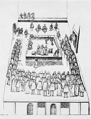 Dobový nákres popravy Marie Stuartovny.