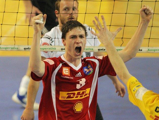 Ostravský Roman Kozák se na tomto snímku sice raduje, po zápase se ale radovali hosté z Českých Budějovic.