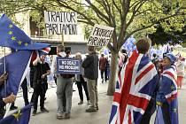 Příznivci setrvání Británie v EU i podporovatelé brexitu shromáždění na náměstí poblíž parlamentu v Londýně