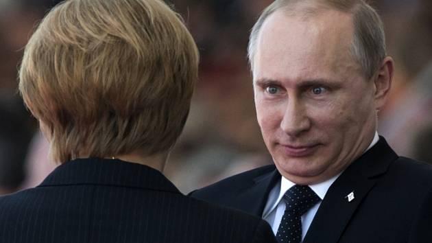 Angela Merkelová a Vladimir Putin.