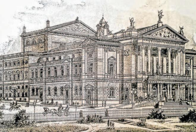 1888. Nové německé divadlo v roce svého otevření. Stavba trvala 20 měsíců a byla reakcí na otevření českého Národního divadla.