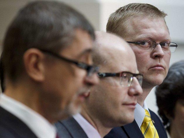 Andrej Babiš, Bohuslav Sobotka a Pavel Bělobrádek.