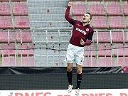 David Lafata ze Sparty se raduje z gólu proti Jablonci.