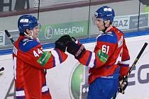 Hokejisté Lva Praha Eric Christensen (vpravo) a Niclas Danielsson se radují z gólu.