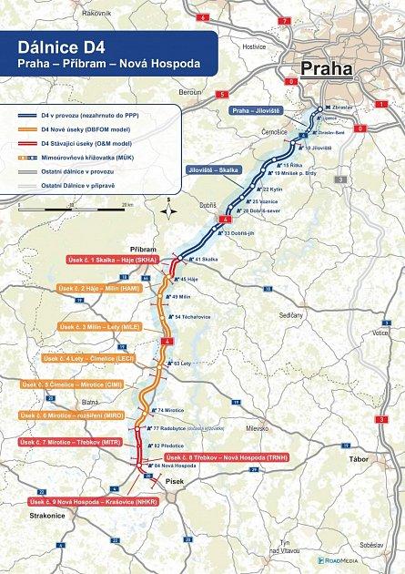 Mapa znázorňující, kudy povede dálnice
