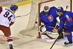 Zápas Euro Hockey Challenge: Slovensko - ČR, 26. dubna 2019 v Trenčíně. Zleva Tomáš Kundrátek z Česka, brankář Slovenska Juraj Mikúš a Martin Štajnoch ze Slovenska.