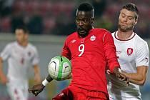 Obránce Ondřej Čelůstka (vpravo) vyšperkoval svou premiéru v národním týmu gólem proti Kanadě.