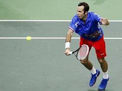Radek Štěpánek ve finále Davis Cupu proti Španělsku.