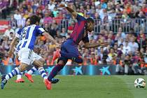 Barcelona uspěla proti San Sebastianu, o což se zasloužil i Rafinha (na snímku)