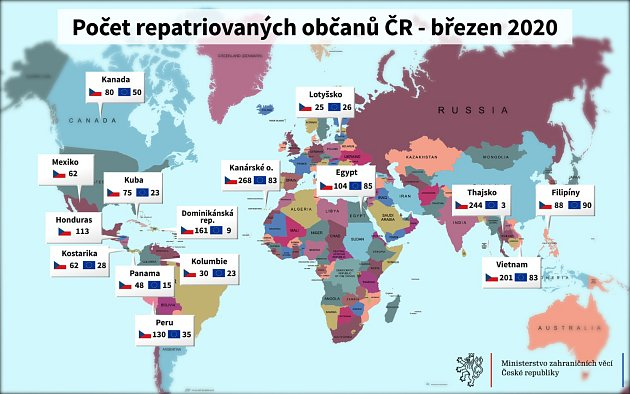 Počet repatriovaných občan ČR - březen 2020.