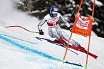Česká lyžařka Ester Ledecká na trati supeobřího slalomu v Crans Montaně