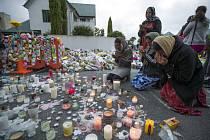 Pietní místo u mešity Al Noor v novozélandském městě Christchurch