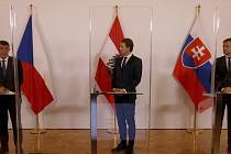 Zleva český premiér Andrej Babiš, rakouský kancléř Sebastian Kurz a slovenský premiér Igor Matovič.