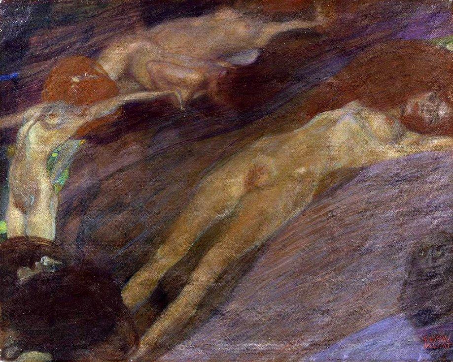 Nahé ženy a proudící voda byly častými tématy tvorby Gustava Klimta