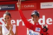 Kolumbijec Esteban Chaves se raduje z vítězství v šesté etapě Vuelty.