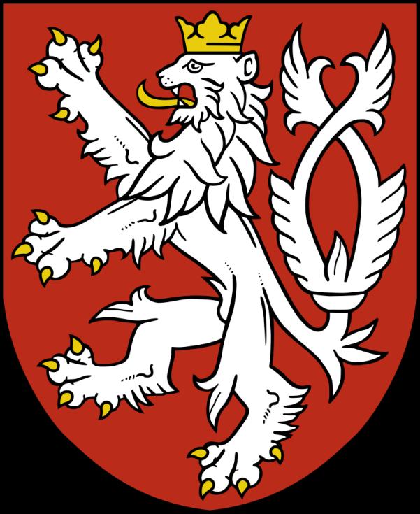 Český lev na současném malém českém státním znaku