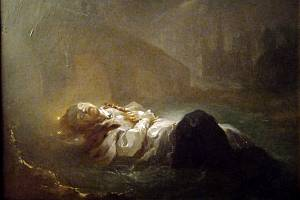 Mrtvé tělo umučeného Jana z Pomuku ve Vltavě pod Karlovým, dříve Pražským mostem, z něhož dal Jana svrhnout český král Václav IV.
