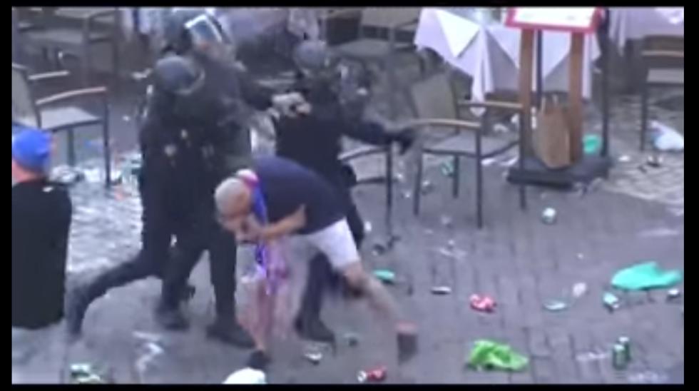 Bitka fanoušků Leicester City s madridskou policií