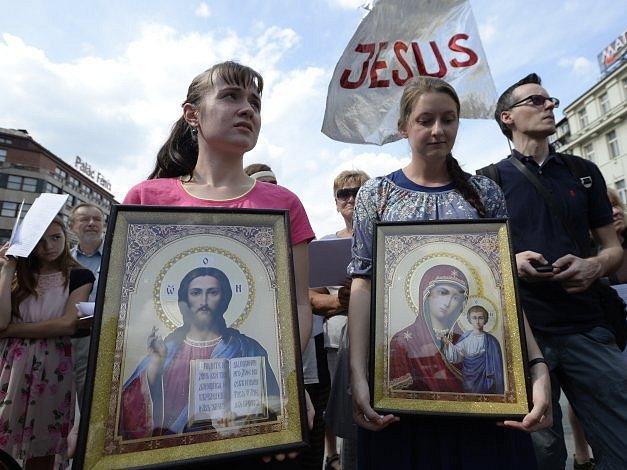 Pochod za Ježíše, rodinu a morální hodnoty, který vnávaznosti na pochod Prague Pride pořádá Byzantský katolický patriarchát, se uskutečnil 20.srpna vPraze.