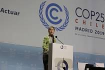 Aktivistka a čerstvě zvolená osobnost roku časopisu Time Greta Thunbergová na klimatickém summitu v Madridu