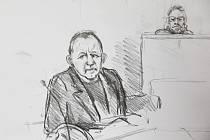Konstruktér Peter Madsen na kresbě ze soudní síně v Kodani