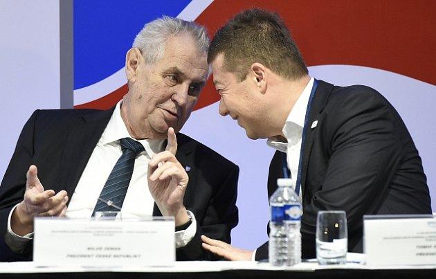 Prezident Miloš Zeman s lídrem SPD Tomio Okamurou