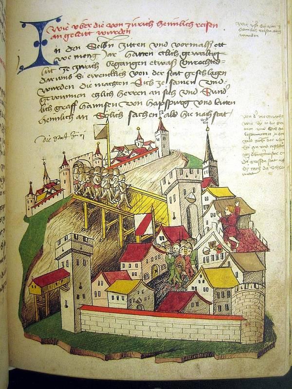 Pozdně středověký Curych, jak jej ztvárnila bohatě ilustrovaná švýcarská Tschachtlanova kronika (Tschachtlanchronik) z roku 1470