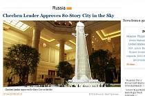 Čečenský vůdce Ramzan Kadyrov hrozbě zemětřesení navzdory schválil v Grozném stavbu 80patrového mrakodrapu.