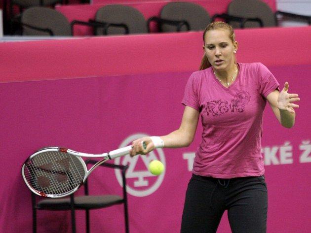 České tenistky v pondělí trénovaly v pavilonu B na brněnském Výstavišti. Na snímku Nicole Vaidišová.