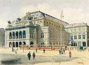 Portrét vídeňské opery namalovaný A. Hitlerem, který se prodal v minulé aukci.