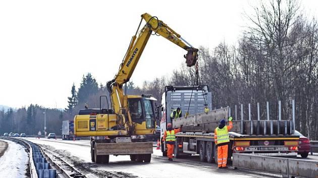 Úpravy dálnice D1 na úseku mezi Humpolcem a Větrným Jeníkovem. Ilustrační snímek