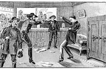 Vražda Johna W. Sheetse ze 7. prosince 1869 v představě dobového novinového kreslíře
