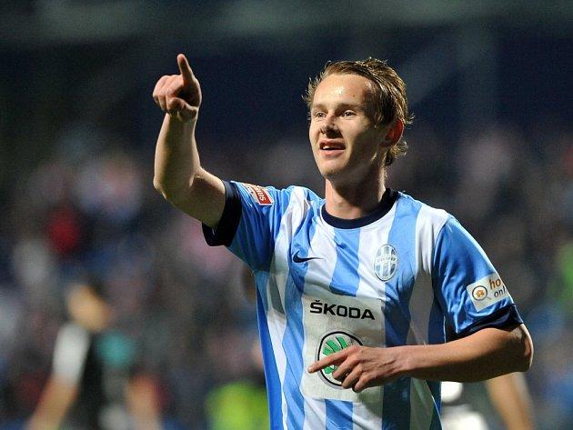 Jan Chramosta z Mladé Boleslavi se raduje z gólu proti Slavii.